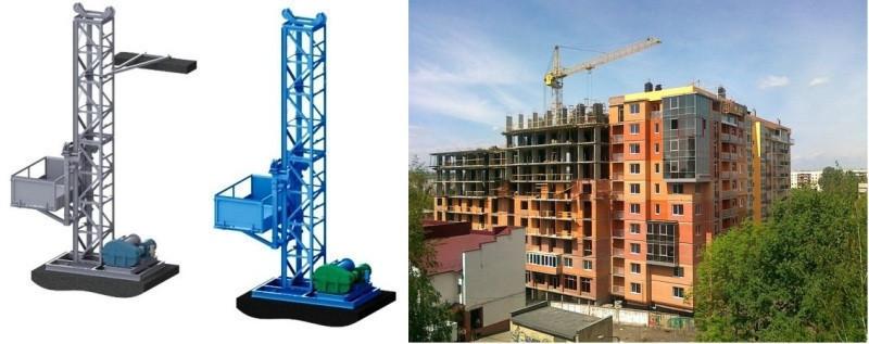 Н-80,83 м, г/п 2000 кг, 2 т. Мачтовые Секционные Строительные Грузовые Подъёмники для подачи стройматериалов.