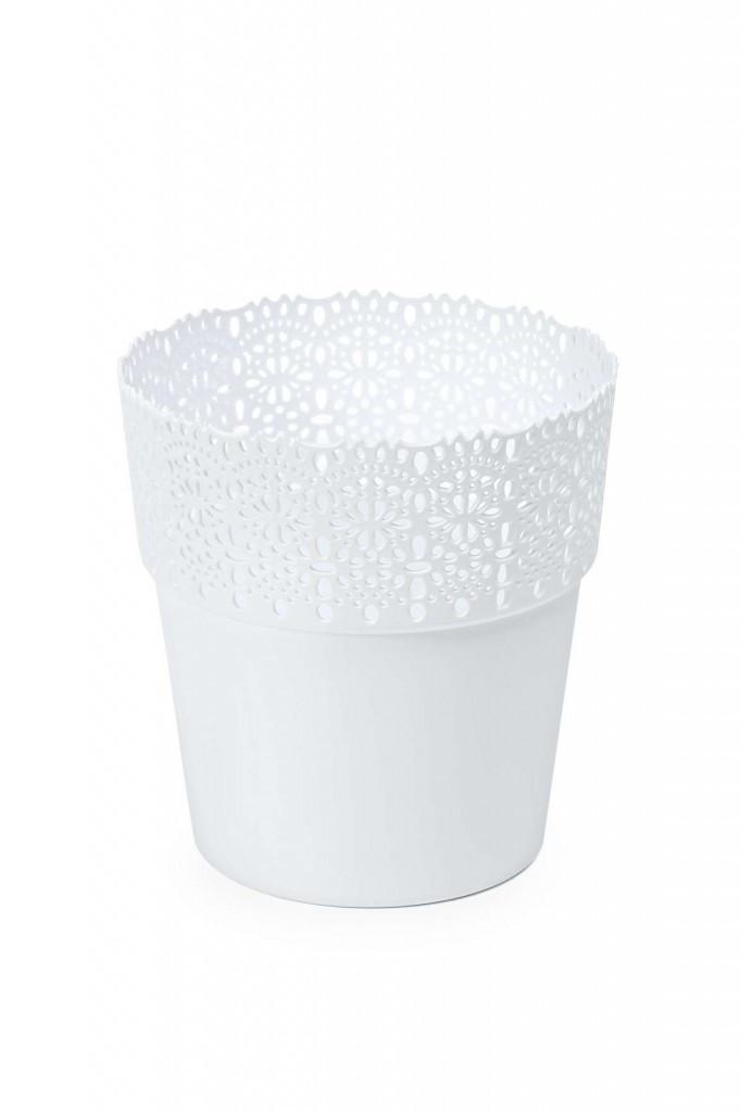 """Кашпо пластикове ажурне """"Белла"""" 145мм (Білий)"""