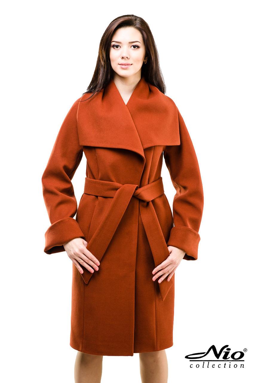 Кашемировое женское пальто 46р, терракот