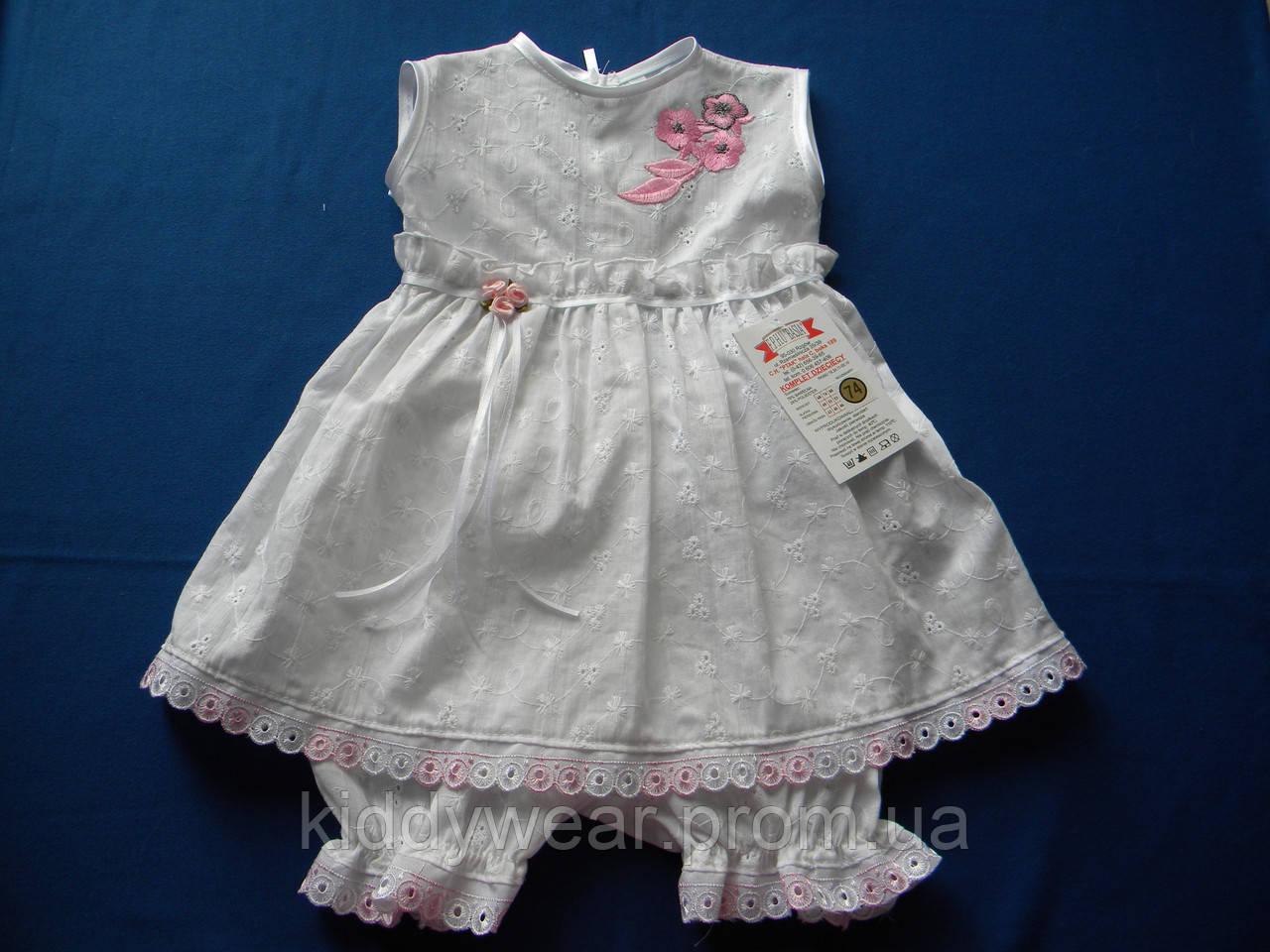 40a8077640e Платье и трусики для девочки из прошвы р. 68