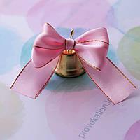 Колокольчик 35мм на атласной розовой ленте люрекс 25мм