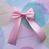 Бант большой атласный розовый слюрексом 25мм, на булавке