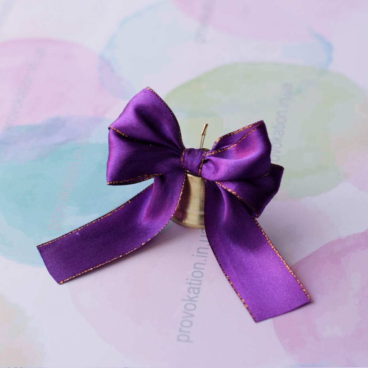 Колокольчик 35мм на атласной фиолетовой ленте люрекс 25мм