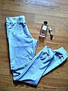 Штаны для прогулок и спорта штанишки спортивные брюки кельвин трикотаж двунитка Л-ка серые, фото 5