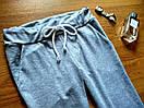 Штаны для прогулок и спорта укороченные штанишки спортивные капри со шнурочком трикотаж двунитка С-ка серые, фото 4