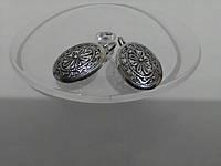 Красивые серебряные серьги без камней на петле