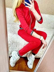 Костюм женский прогулочный спортивный Calvin Кельвин кофта бомбер на молнии Л-ка красный