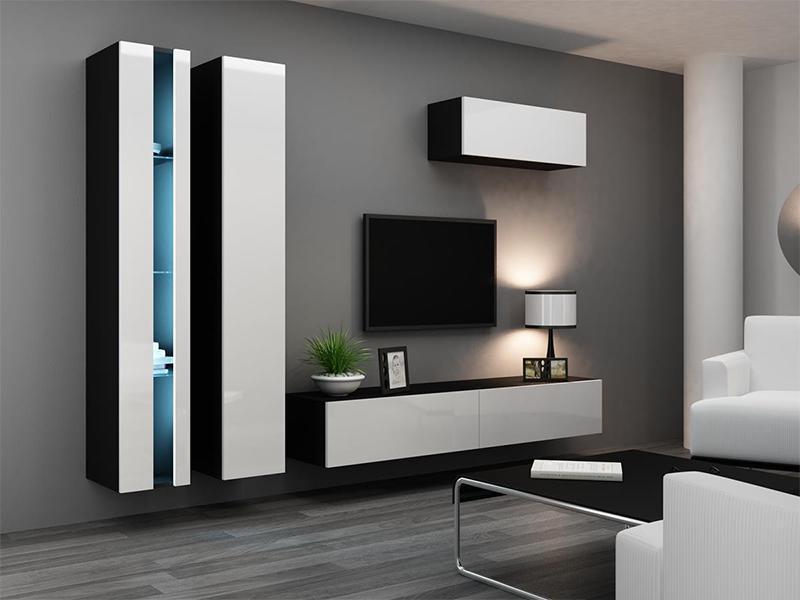"""Стінка в вітальню """"Віго Нью 1/ Vigo New 1"""" від Cama (білий/чорний)."""