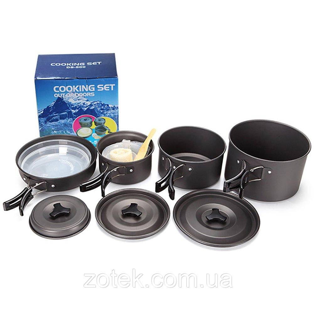 Набор посуды DS-500 на 4-5 человек, из анодированного алюминия, комплект туристический походный кемпинга