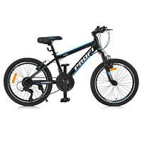 Велосипед спортивний 20 Д. G20FIFA A20.1 чорно-блакитний