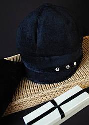 Модный черный берет с шарфом