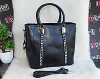 Женская кожаная сумка с металлическими цепочками черная, фото 1