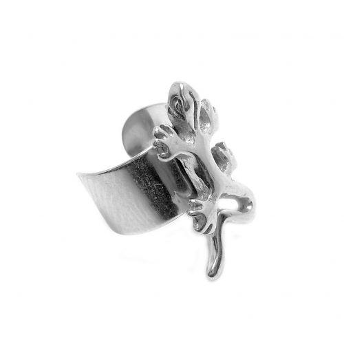 Сережка каффа сталева з прикрасою саламандра 141026