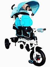 Велосипед-коляска Azimut Crosser Twins Air голубой колеса надувные + фара