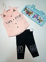 """К-т дев. рубашка персик+лосины """"Vogue""""cтразы и бусины"""