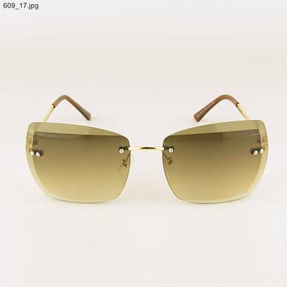 Солнцезащитные квадратные женские очки с коричневыми линзами - 609, фото 2