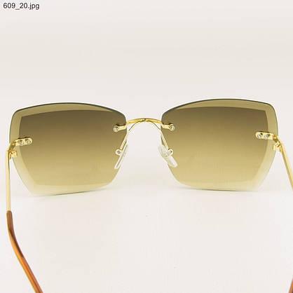 Солнцезащитные квадратные женские очки с коричневыми линзами - 609, фото 3
