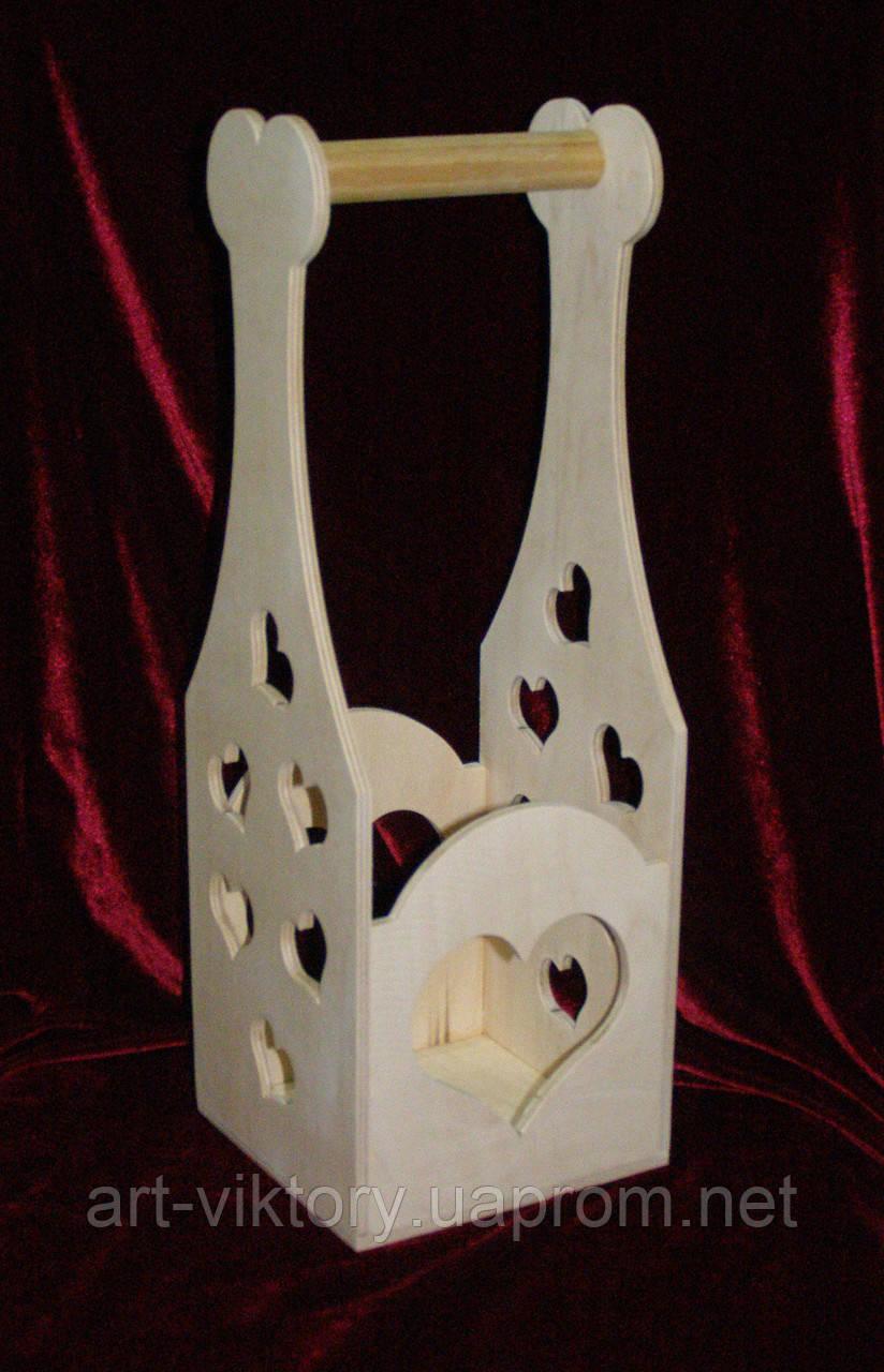 Короб для вина с сердечками (14 х 13 х 39,5 см)