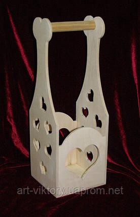 Короб для вина с сердечками (14 х 13 х 39,5 см), фото 2