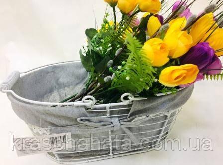 Корзина металлическая с двумя ручками белая, корзины подарочные, Днепр