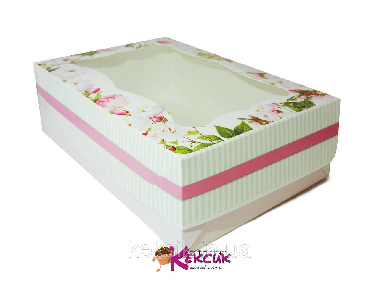 Коробка для пирожного и зефира с окошком 25*17*8 см Цвет яблони