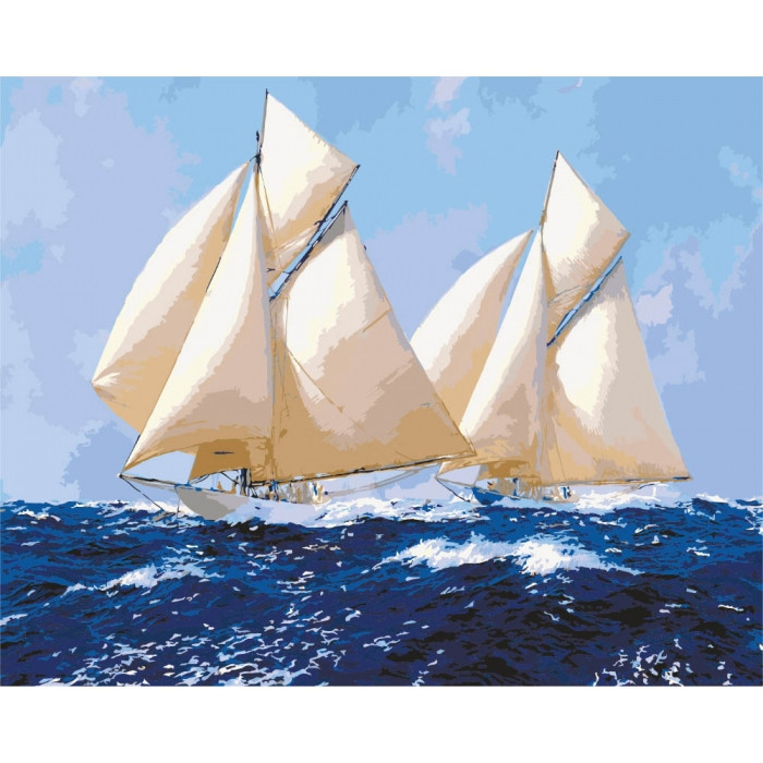 "Картина по номерам. Морской пейзаж ""Парусники 2"" 40*50см KHO2720 Картина по номерам. Морской пейзаж ""Парусники 2"" 40*50см KHO2720"