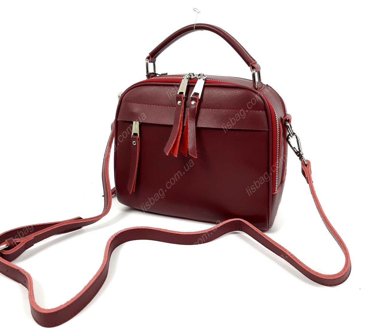 56cfaa61949b Бордовая кожаная сумка среднего размера - Интернет магазин Lisbag в Умани