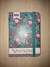 Блокнот Flamingo для записів в лінію з фламінго синій А7 кишеньковий