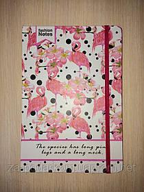 Блокнот Flamingo для записів в лінію з фламінго рожевий А7 кишеньковий