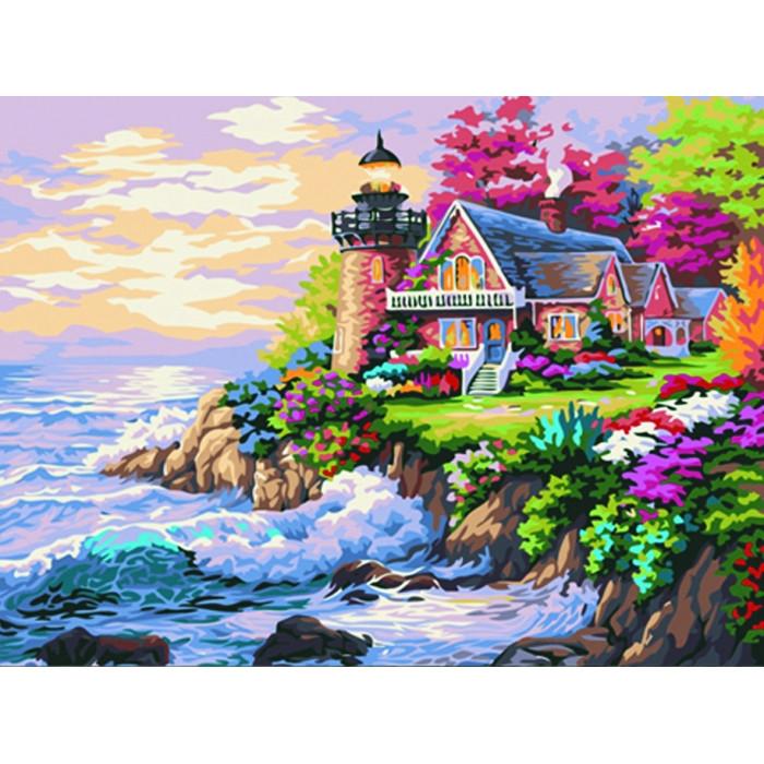 "Картина по номерам. Морской пейзаж ""Домик у маяка"" 40*50см KHO115 Картина по номерам. Морской пейзаж ""Домик у маяка"" 40*50см KHO115"