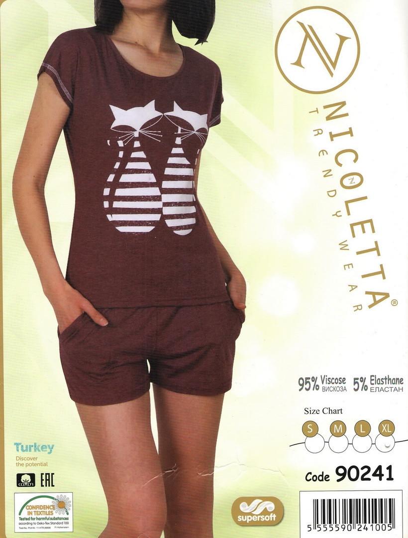 Пижама женская  с котиками Nicoletta 90241