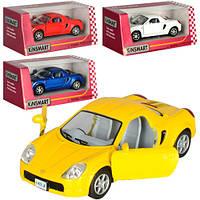 Машинка KT5026W (Toyota MR2) Машинка KT5026W (Toyota MR2) металл,инер-я,10-4-5,5см,откр.дв,рез.колеса,4цвета,в кор-ке,12,5-12-6см