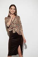 Леопардовая блузка с завязкой   Размер S, M, L