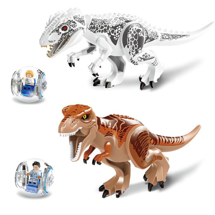 Динозавр лего юрского мира индоминус,тиранозавр рекс+сфера+подарок