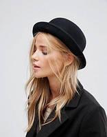 Шляпа котелок черная женская