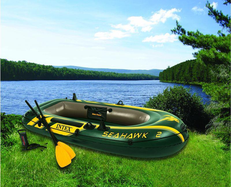 Надувная 2-х местная лодка Intex 68347 SeaHawk 2 +Весла+Насос