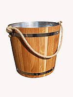 Ведро из дуба для бани 15 л. с металл. вставкой