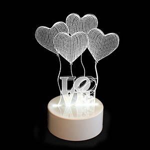 3Д светильник стеклянный одноцветный Led 131957