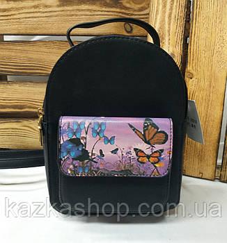 Женский рюкзак черного цвета с ярким дополнительным карманом регулируемыми лямками, фото 2