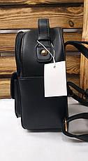 Женский рюкзак черного цвета с ярким дополнительным карманом регулируемыми лямками, фото 3