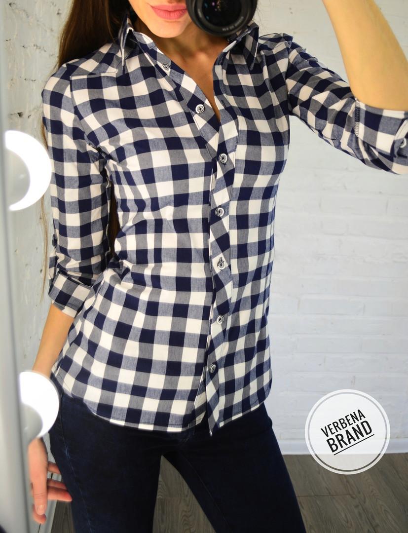 1772114f9 Женская рубашка в клетку из хлопка - Evellon - интернет магазин женской  одежды (опт и