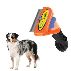 Щетка фурминатор для вычесывания собак и кошек с кнопкой FURminator Medium Dog 7 см 130751