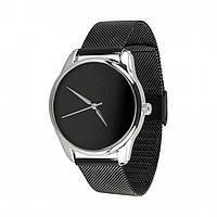Часы Ziz Минимализм черный, ремешок из нержавеющей стали черный и дополнительный ремешок - 142926