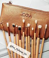 Набор кистей для макияжа Zoeva (золото) 12 шт