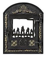 Печная дверца со стеклом VEGA 510х390 мм раздельные, чугунные дверки для печи и барбекю