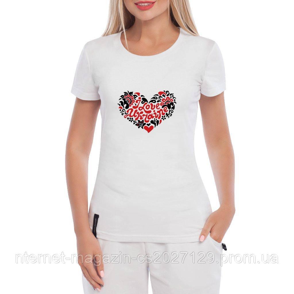Женская хлопковая футболка с принтом сердца I Love Ukraine