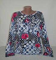 Трикотажная кофта с розовыми розами - 64 размер, фото 1