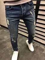 Мужские стильные джинсы, синие с потертостями