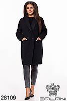 Пальто женское букле чёрное большой размер