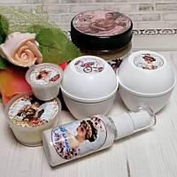 Набор косметики (крем для ног,массажное масло,молочко для лица, дневной крем с калагеном)
